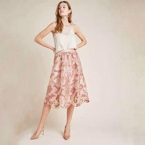Maeve Shannon Embroidered Midi Skirt sz XS NWT